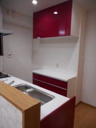 お部屋のポイントにもなっているカシス色のキッチンはご夫婦で決めました