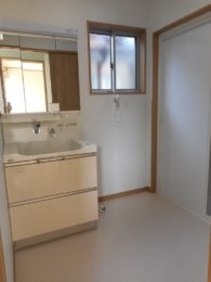 洗面所。出入口の引戸を閉めると、可動式棚が出てきます。タオルや、下着・洗剤等たくさん入ります。